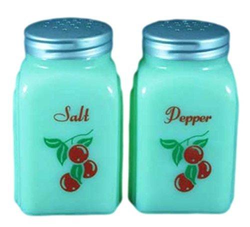 G3291JC Jadeite Green Glass Roman Arch Style Jadite Salt & Pepper Shakers - Red Cherries design ()