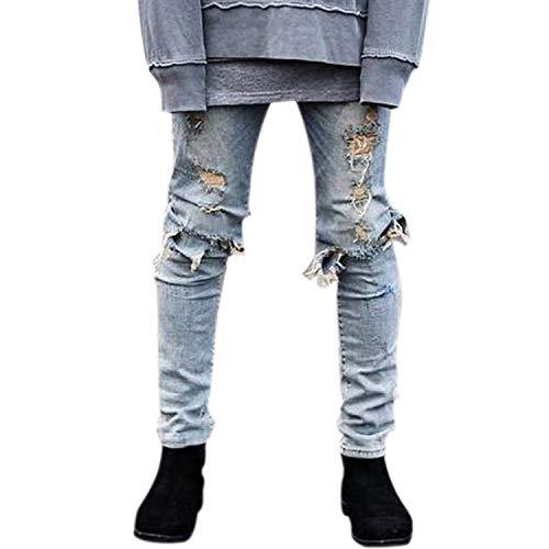 Street Al Look Di Ginocchio Jeans Scarni Hellblau Wear Con Pantaloni Ragazzi Uomo Leggings Usati Slim Cher Classiche Casual Da Distrutti Fori Fit 6XBPXwZx