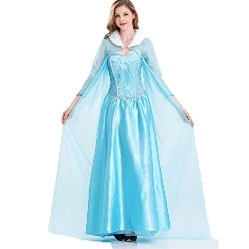 Hotcostyle Frozen Aisha Princess Dress Masquerade Costume Wedding Dress Long Shawl Crown 3pcs Blue -