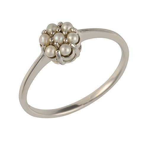 Ivy Gems Sterling Silver Chinese Freshwater Pearl Little Flower Ring - Size...