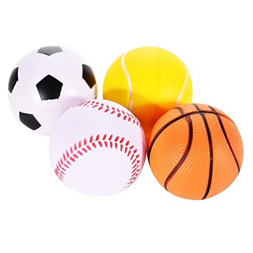 Emorefun Soft PU Mini Sports Balls for Kids, Basketball, Football, Tennis, Golf, Novelty Stress Relief Ball Fidget Toys Party Favor Games, Set of 4