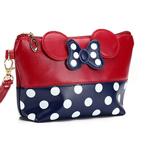 HaloVa Toiletry Bag, Waterproof Portable Women's Handbag, Fashion Cartoon Bowknot Dots Cosmetic Bag for Shopping Outdoor Travel, Red