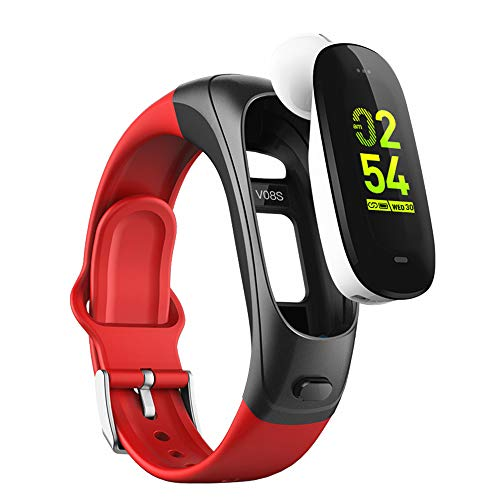 2019 version H3 Smartwatch 3 in1 Smartband Sports Smart Watches with Bluetooth Headsets+ All-Day Heart Rate Blood Pressure Sleep Health Monitor + Activity Tracker Compatible for Android & iphone (Red)