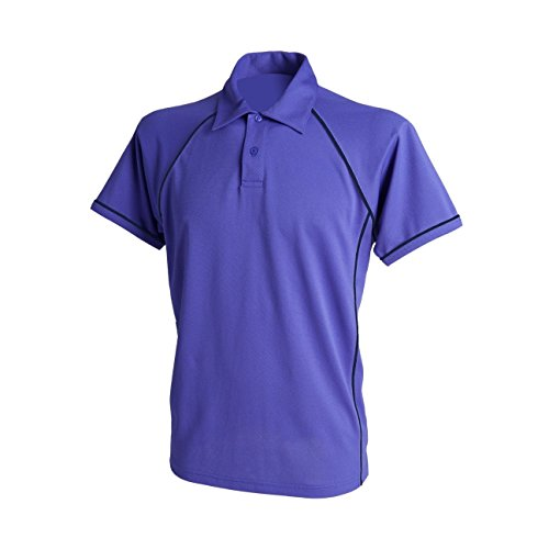 Finden & Hales LV370 paspeliert coolplus ® Herren Polo Shirt Performance Gr. X-Large, Violett - Purple/Navy