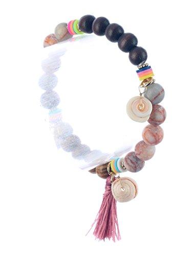 Parisian Chic Bracelet Natural Stone Wooden Bead Stretch Seashell Charm Tassel Diameter Multi colored