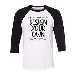 Bella + Canvas – Unisex Three-Quarter Sleeve Baseball T-Shirt, Custom Design Your Own