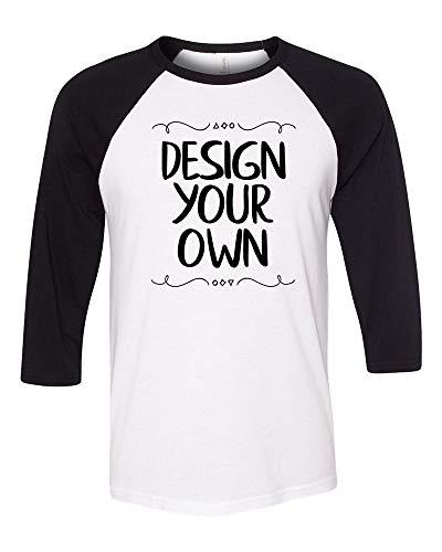 Bella + Canvas - Unisex Three-Quarter Sleeve Baseball T-Shirt, Custom Design Your Own |