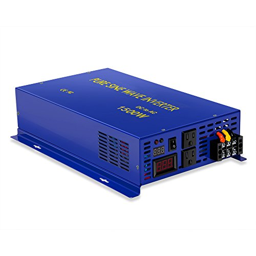 1500w Full Power 3000W Peak 12v to 120v Solar System Pure Sine Wave Inverter by Generic