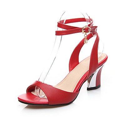 LvYuan Mujer-Tacón Robusto-Gladiador-Sandalias-Oficina y Trabajo Vestido Fiesta y Noche-Cuero-Negro Rojo Blanco White