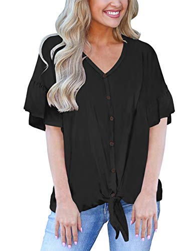 Tie Front Tops for Women Short Sleeve Loose Bat Wing Plain Shirts Summer Tee Blouses L -