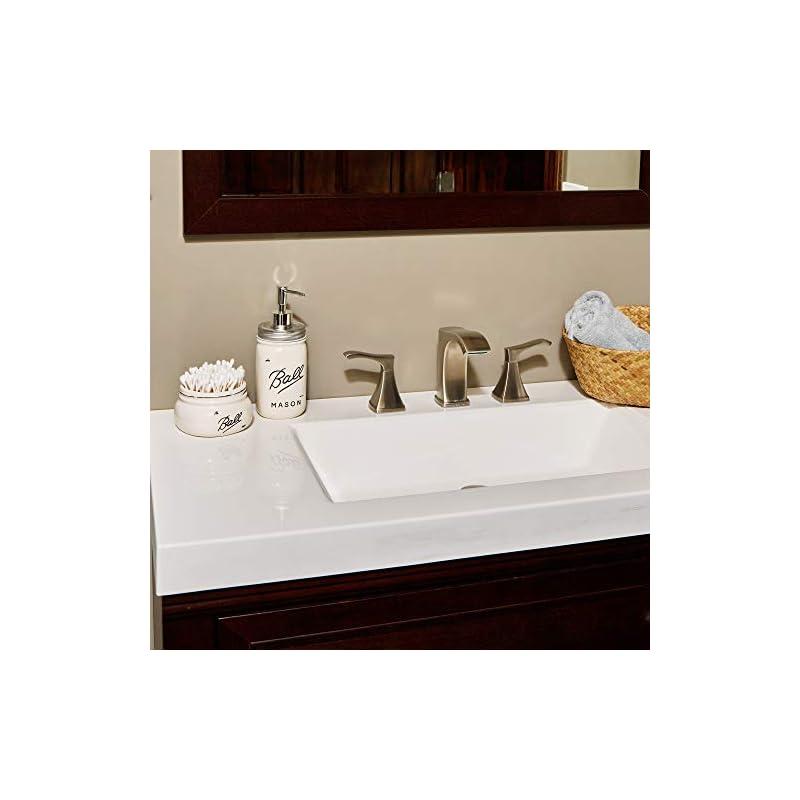 Reed & Grace Mason Jar Bathroom Set - 5 Piece Ceramic Hand Soap Dispenser Tooth Brush, Makeup Brush, Cotton Swab…