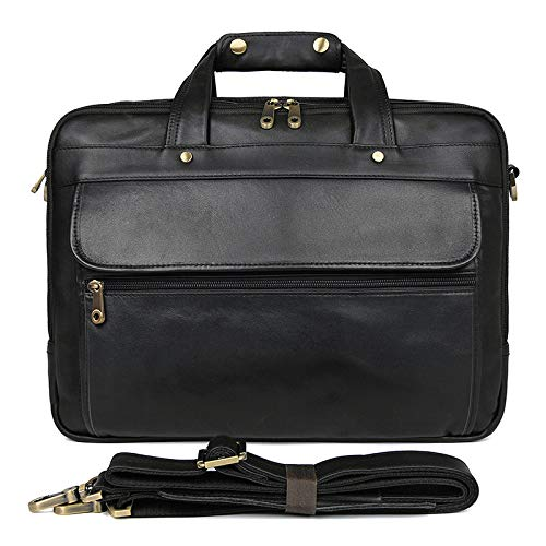 Mens Briefcase Leather Mens Bags First Layer Leather Retro Business Bag Three-Layer Main Bag Leather Tote Bag Color : Black, Size : L