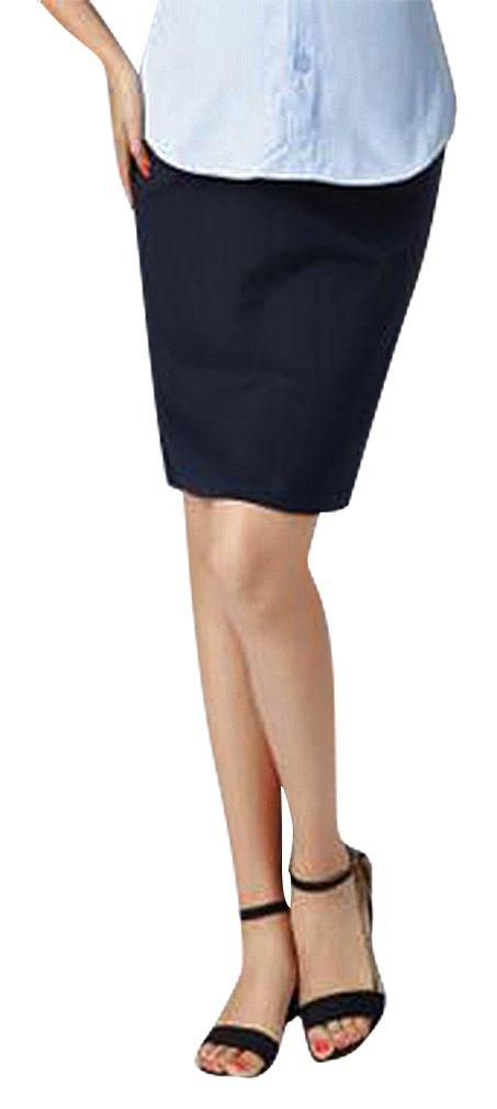 Hibukk Black Comfy Business Style Full Panel Straight Midi Maternity Skirt, Blue XS,Manufacturer(M)