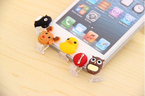 ZOEAST® Penguin Owl Red Ninja Yellow Duck Deer Lightning Connector Data Port iPhone 5 5C 5S SE 6 6S Plus IPad 4 IPad mini Air 2 iPad Pro Dust Plug Charm Pluggy home button Sticker (5pcs patterns) Penguins Duck