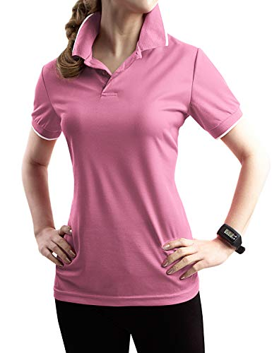 TWINTH Womens Active Sports Wear Short Sleeve 2-Button Polo T Shirt with Plus Size LIGHTPINK S