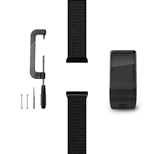 C2D JOY Compatible with Garmin vivoactive HR Replacement Band with Pin and Pin Removal Tool, Sport Mesh Band for Sports wear Soft, Breathable Nylon Weave - 10# Dark Black, Large