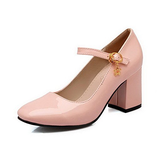 AllhqFashion Damen Hoher Absatz Rein Schnalle Lackleder Quadratisch Zehe Pumps Schuhe Pink
