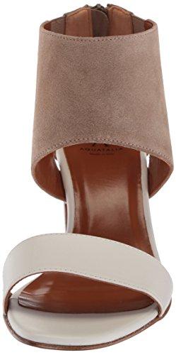 Aquatalia Donna Enid Vitello / Suede Combinata Sandalo Con Tacco Bianco Combo