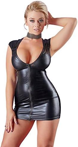 Cottelli Collection Party - figurbetontes Minikleid im Wetlook für sie, verführerisches Kleid mit tiefem Ausschnitt und 2-Wege-Reißverschluss, schwarzes Dessous-Kleid