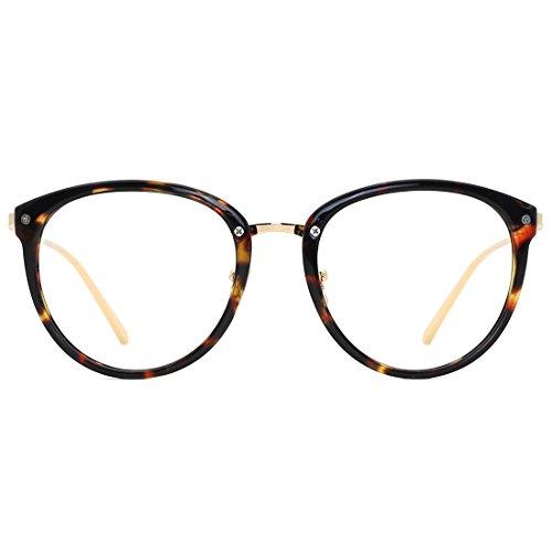 - TIJN Round Blue Light Filter Computer Glasses Eyeglasses for Women Transparent Lens((Blue Light Block) Tortoise, 50)