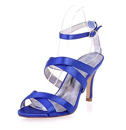 Blu Tallone PU Satin Del Sandali Regalo A Party Wedding CLOVER Donne Sposa Blue Stlletto Ufficio Open Impermeabile Incontri LUCKY Tacchi EU46 Alti Ragazze Piattaforma Toes XqPBx7v
