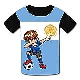 Wcpol Argentina Flag 2018 Soccer Football World 2018 Children's 3D Print Crew-Neck Short Sleeve T-Shirt L