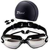 HD waterproof swimming goggles and swimming cap with goggles frame plating black