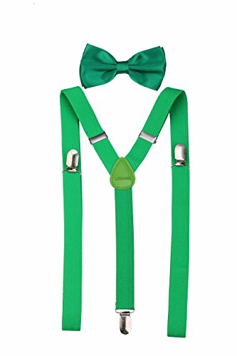 Lolitarcrafts Men's Classic Solid Suspenders Matching Bow Tie Set Braces (Green)