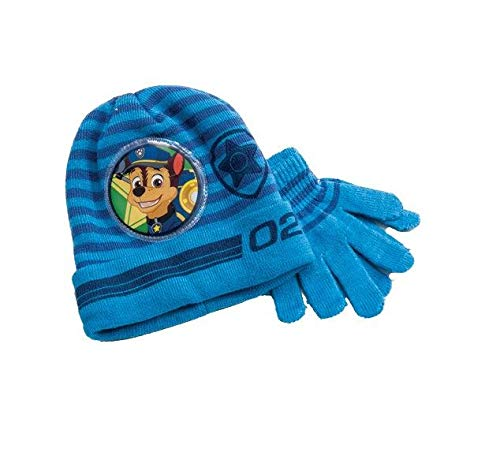 Paw Patrol Knitted Blue Winter Hat & Gloves Set Toddlers Boys One Size