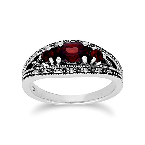 Gemondo Garnet Ring, Sterling Silver Triple Mozambique Garnet & Marcasite January - Garnet Marcasite Ring