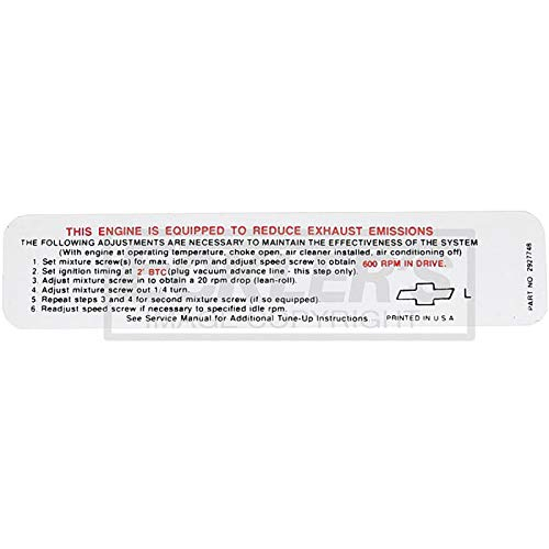 - Eckler's Premier Quality Products 55192099 El Camino Engine Compartment Decal Caution Fan
