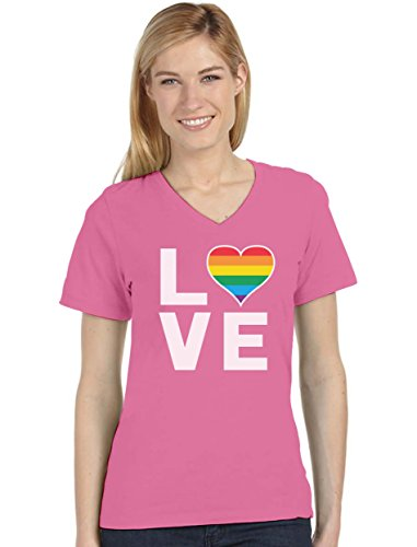 Gay Love - Rainbow Heart Gay Pride Awareness Women's Fitted V-Neck T-Shirt XX-Large Pink