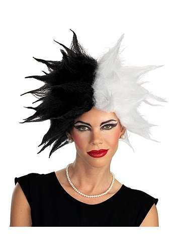 Disguise Women's Disney 101 Dalmatians Cruella De Vil Deluxe Adult Costume Wig, Black/White, One (Adult Cruella De Vil Costume)