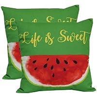 Mainstay Durable Decorative Outdoor Toss Pillow - Set of 2 (Green)