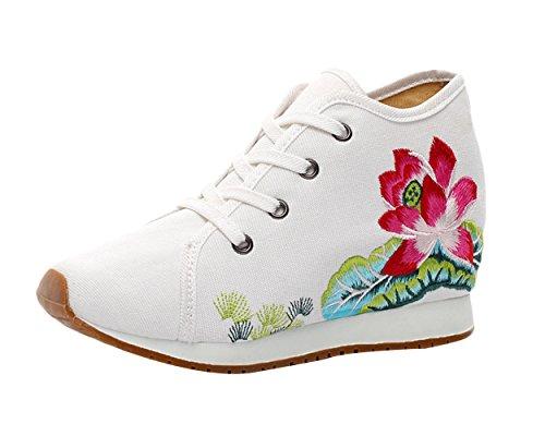Bordado Mujer Blanco Loto Alpargatas de Cordones Para Insun Mujer de con Zapatos z0q4nw7