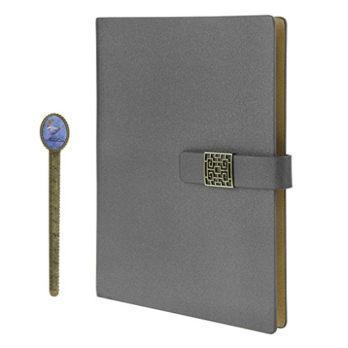 Notebook, A5 Faux Leather Journal, Business Office Notebook with Magnetic Clasp, Loose Leaf Wirebound Notebook with Spiral, Refillable Travel Notepad, College Ruled Paper, 192 Pages, 6.9x9.1 inches by Clobeau