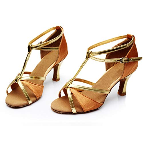 TIFENNY New Women's Latin Dance Shoes Section Golden High Heel Satin Party Tango Salsa Dancing ()