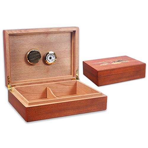 $153.58 cuban crafters humidor Sugoishop Quality Importers Desktop Humidor, Cedar Divider, and Brass Ring Glass Hygrometer, Holds 20 Cigars(1 Pack) 2019