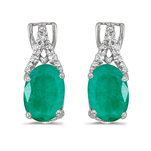 14k White Gold Studs Genuine Green Birthstone Oval Emerald And Diamond Earrings (1.12 Cttw.) ()