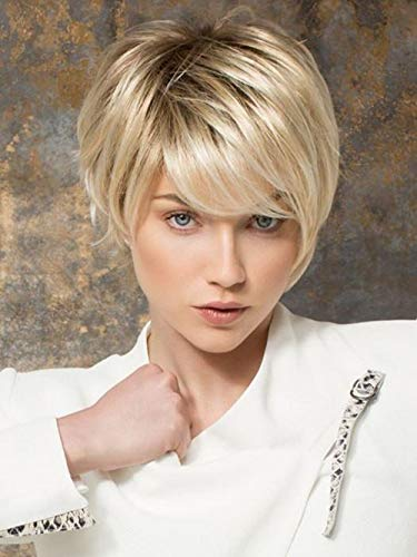 ELIM Blonde Wigs for White Women Short Pixie Cut Hair Wig with Bangs Natural Looking Synthetic Full Wigs for Party Daily Z159 -