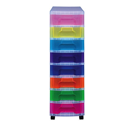 Really Useful Box Tower Drawer 8 Drawers Clear Rainbow (Rainbow 8 Drawer Rolling Chest By Recollections)