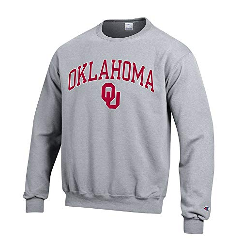 Elite Fan Shop Oklahoma Sooners Crewneck Sweatshirt Varsity Gray - - Crew Sweatshirt Oklahoma
