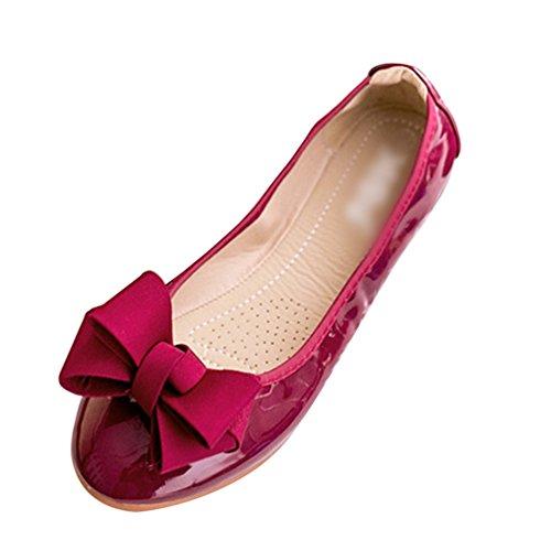 Da Bowknot Piatti Loafers Scarpe on Vino Tinta Barca Slip Comode Per Unita Jitong Donna Rosso Mocassini fCFpxwqy