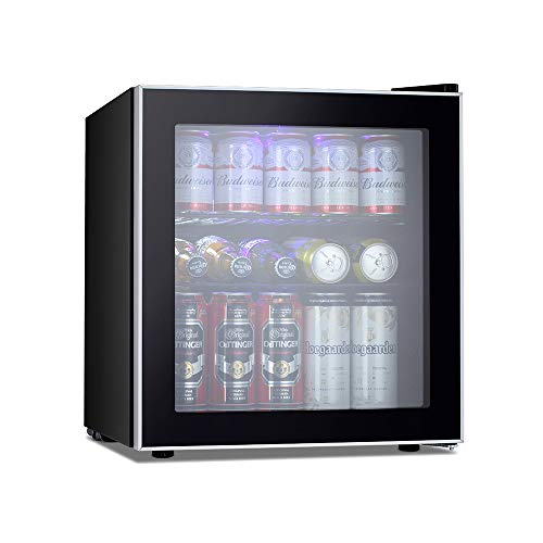 Kismile Beverage Refrigerator and Cooler,60 Can 1.6 Cu.ft Mini Fridge with Glass Door for Soda Beer or Wine,Small Drink Cooler Dispenser Counter Top Refrigerator for Home,Office,or Bar (Silver)