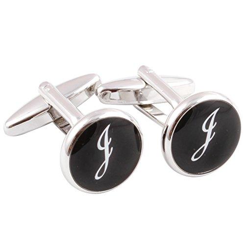 (HJ Men's 2PCS Rhodium Plated Cufflinks Silver Initial Letter Shirt Wedding Business 1 Pair Set Black J)