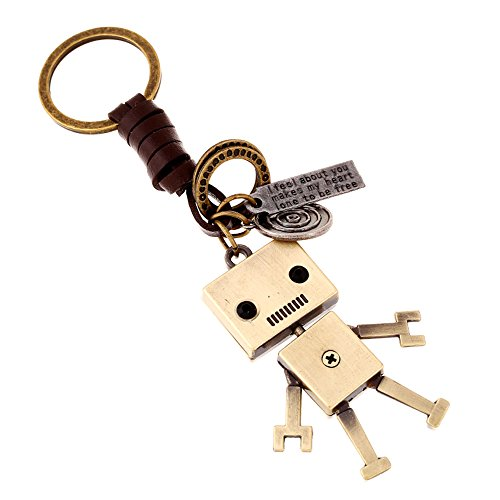 Creative Cute DIY Handmade Retro Alloy Weave Genuine Leather Car Key Chain for Men Women (Robot)