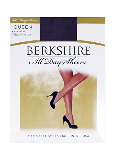 Berkshire Women's Plus-Size Queen All Day Sheer Pantyhose - Non Control Top Sandalfoot , Navy, 1X-2X