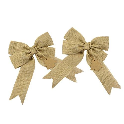 Trees Christmas Bows - Aokbean Set of 2 Wedding Decor Bows Christmas Tree Topper Bow Rustic Decor Burlap (Burlap)
