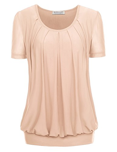 BaiShengGT Women's Short Sleeve Pleated Front Mesh Blouse Medium Apricot