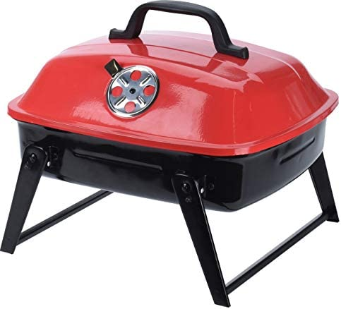 BBQ Barbecue portable en acier Noir/rouge 35 x 31,5 x 28 cm